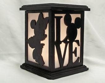 Disney Mickey loves Minnie wooden lantern