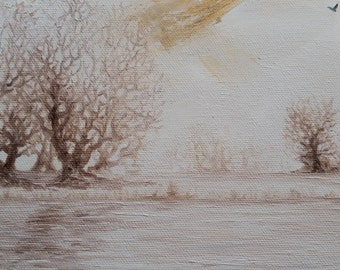 Winter River; oil painting