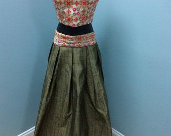 Designer Crop Top Prom 2pc Dress/Gown