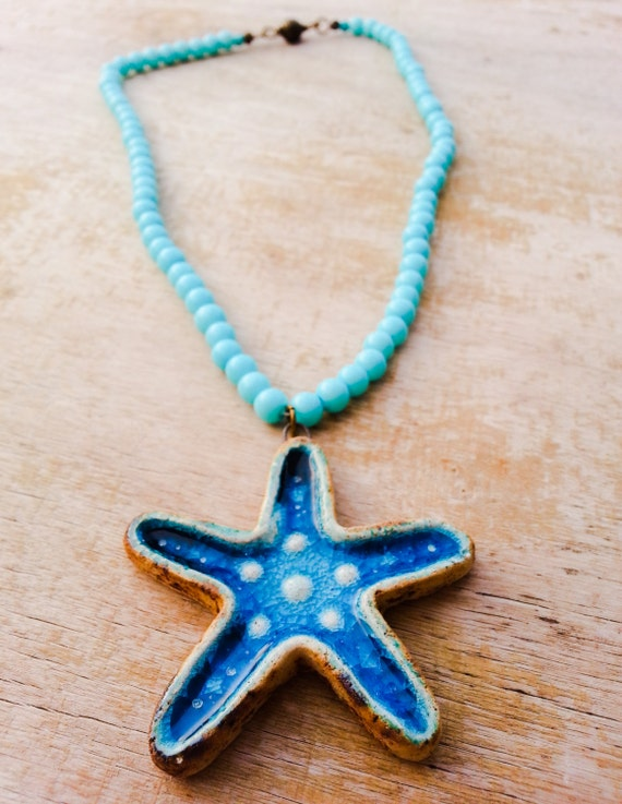 turquoise starfish necklace ceramic pendant by theaxessorize
