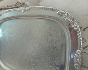 Stunning Extra Large Ornate Silver Display Serving Tray Lacey Details French Roses Scrolls