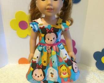 """Wellie wishers Doll Clothes Tsum Tsum Dress, Headband a handamde shoes fits Wellie Wishers 14.5"""" doll"""