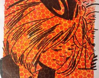 "Vintage Comic Inspired Monoprint ""Roberta"""