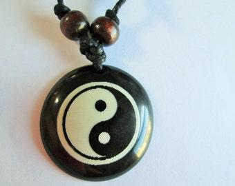 Yin Yang - Handmade Black Adjustable Cotton Cord (Or Handmade Black Hemp) Necklace with Yin Yang Pendant and Wood Beads