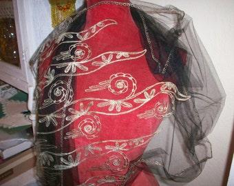 Breathtaking scarf/shawl/wrap authentic metallic on black silk net deco design/art nouveau
