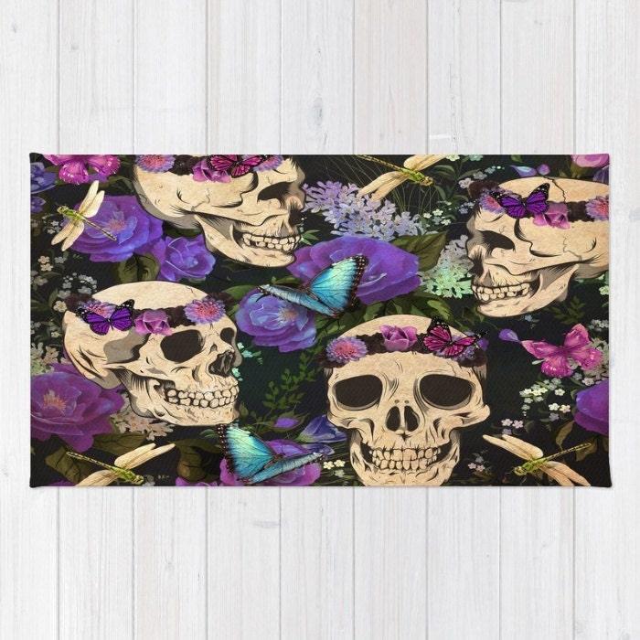 Skull Rug Purple Floral Butterflies And Dragonflies Sugar