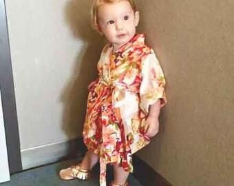 Flower Girl Robe - Kimono Crossover Robe, Child Robe, Kids Robes, Perfect Flower girl gift, Baby shower gift