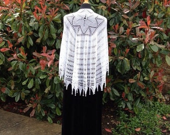 White Wedding Shawl with pearl beads