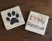 I Love My Rescue Tumble Stone Coasters (Set of 2)