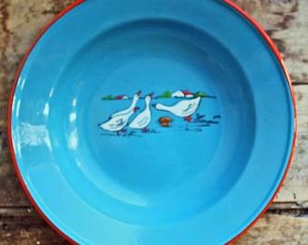 Vintage Czechoslovakian Enamelware soup dish/ plate  motif of ducks &  farm