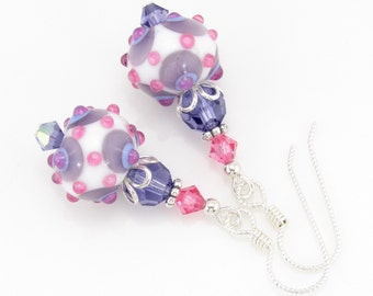 Pink and Purple Lampwork Beaded Earrings, Artisan Lampwork Jewelry, Sterling Silver Earrings