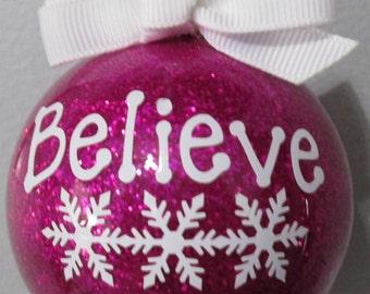 Christmas Bulb, Christmas Ornament, Believe Ornament, Santa, Holidays, Glass Ornament