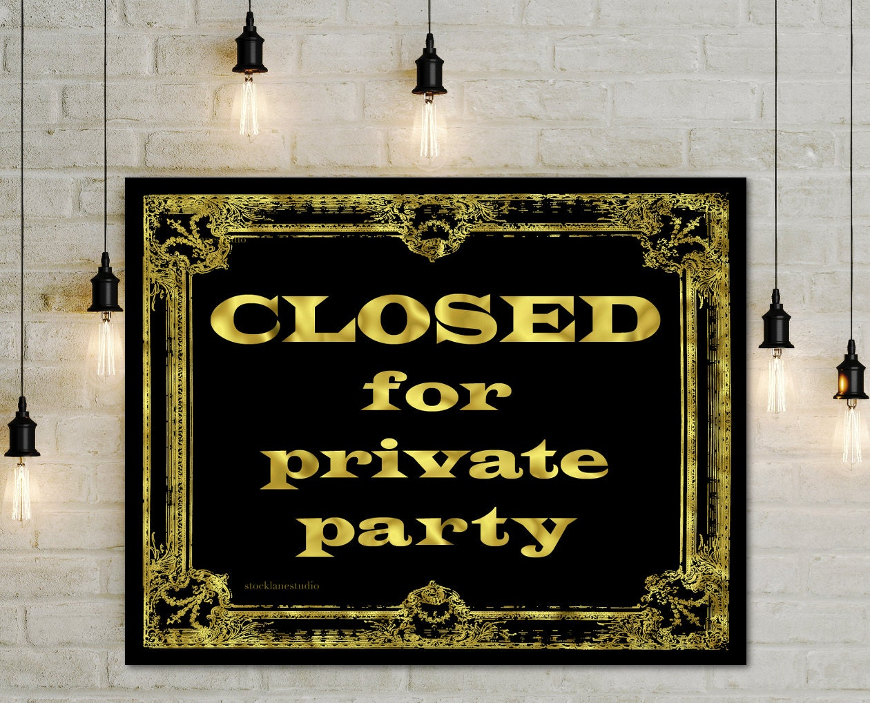 Private Ceremony Reception Later: Digital Closed For Private Event Sign Gold Black Window