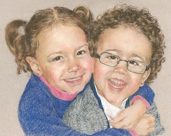 CHILDRENS'S PORTRAITS Custom pastel drawing from photo by professional artist Margaret Scanlan.