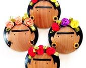 The Original FRIDA KAHLO Wooden Brooch/ Frida Flower Crown Pin/ Handmade WEDDING Favor/ Bridal Shower Gift/ Handpainted Artisan Jewelry