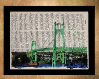 Portland Dictionary Art Print St Johns Bridge Oregon Vintage Paper Fine Art Print Gift Ideas Home Decor Wall Art da1134