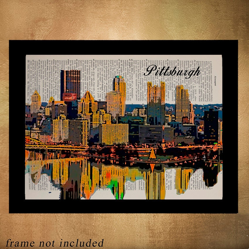 Home Decor Pittsburgh: Pittsburgh Skyline Dictionary Art Print Wall Art Home Decor