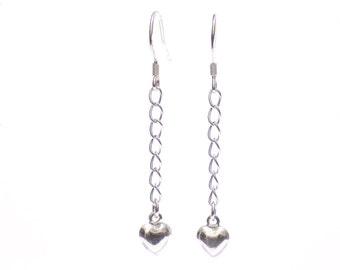Sterling silver heart earrings, silver heart earrings, earrings, puff heart earrings, heart earrings