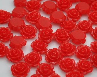Resin Flower Cabochon Delicate Rose ,20pcs Red Rose Cabochons - 10mm.