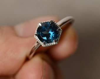Solitaire Ring London Blue Topaz Ring Sterling Silver