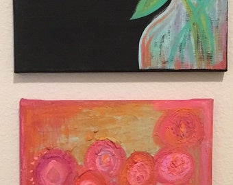 Set of 2 abstract and floral painting