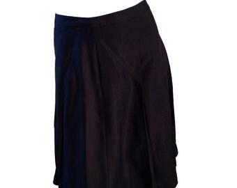 J Crew Black 100% Silk Pleated Above Knee Length Skirt - Size 10
