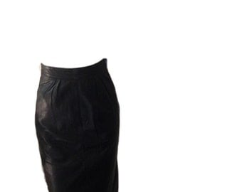 Black Leather High Waisted Mini Skirt (24 inch waist)