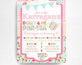 Dolly and Me Birthday Party Printable Invitation YOU Print Doll Tea Party