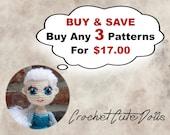Bundle Pack - Choose 3 Crochet Patterns for 17 US Dollars