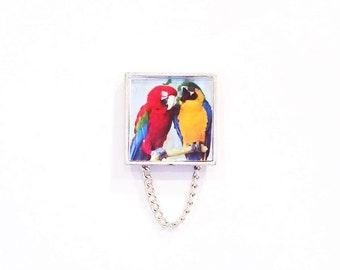 Two Colorful Parrots Eyeglass Holder