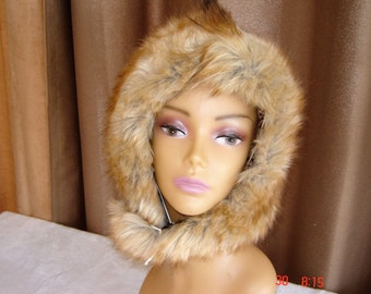 Faux Fur Hat, Ladies Hat, Womens Hat, Winter Hat, Faux Fur Hood, Cossack Hat, Faux Fur Cossack Hat, Head Covering,Cozy Hat