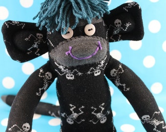 Sock Monkey / Dancing Skeletons / Black White Turquoise Purple Grey / Gifts for Him / Nursery Decor / Gifts for Her / Skull Decor / Unique