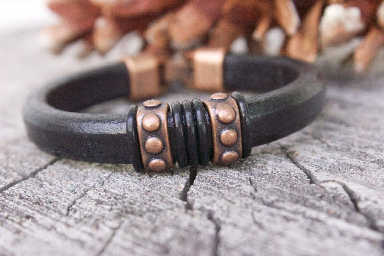 mens leather bracelet mens copper bracelet by. Black Bedroom Furniture Sets. Home Design Ideas