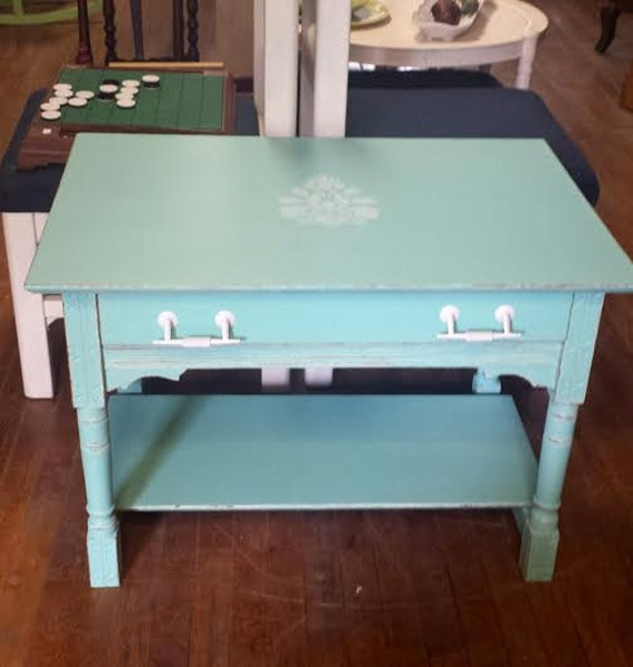 Shabby Chic Coffee Table White And Aqua End By Frugalfortune
