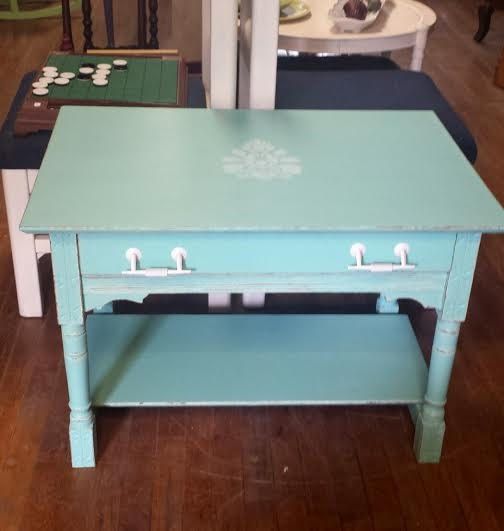 Shabby Chic Coffee Table Nz: Shabby Chic Coffee Table White And Aqua End By FrugalFortune