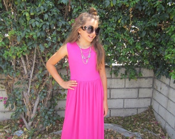 Girls Pink Summer Maxi Dress, Girls Dresses, Girls Summer Dress, Girls Long Dress, Summer Dress - Sizes 4/5, 6/6x, 7/8, 10/12 Ready to Ship