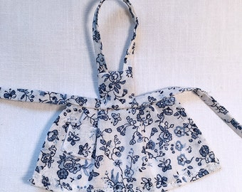 Miniature Dollhouse Vintage Inspired Apron with Bib - Blue and White Graphic