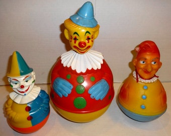 1960s 3 Vintage Roly Poly Clowns