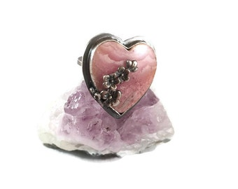 Pink Heart Ring, Pink Rhodochrosite, inca rose, love ring, Size 7 Ring, Heart Jewelry, Flowers Ring, Bohemian Jewelry, Boho Ring