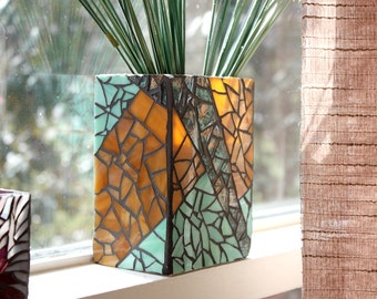 Rectangular Green Stained Glass Mosaic Vase, Amber Mosaic Glass Vase