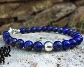 "Pearl bracelet Lapis Lazuli and 925 Silver, handmade, more sizes - Handmade in Italy ""NO LOGO Bracelet"""