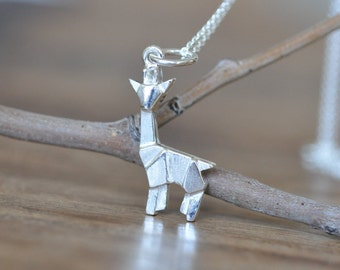 Sterling Silver Origami Giraffe Necklace, Giraffe Jewelry, Silver Giraffe Necklace, Giraffe Charm Necklace, Jamber Jewels