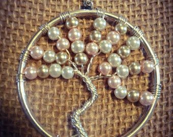 Large Pearl tree of life pendant