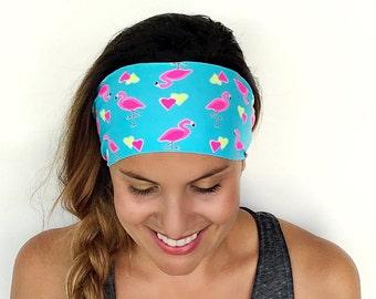 Yoga Headband - I Love Flamingos Print - Running Headband - Fitness Headband - Fitness Apparel - Wide headband - Workout Headband