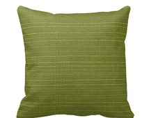 Kiwi Outdoor Zippered Throw Pillow Cover by Primal Vogue™ - Various Sizes 12x12 14x14 16x16 18x18 20x20 24x24 - Solid Green Textured Cushion