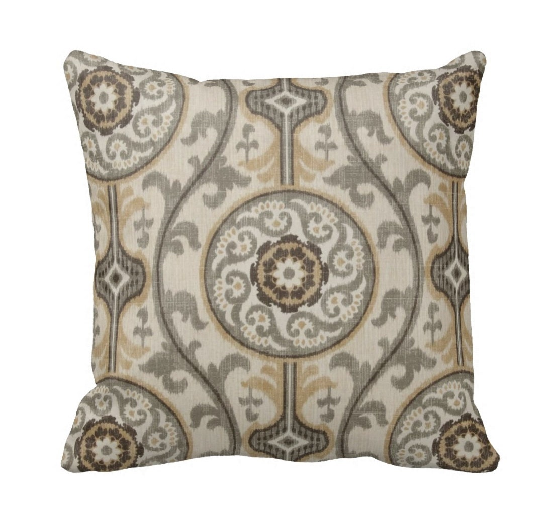 Metal Suzani Zippered Throw Pillow Cover by Primal Vogue