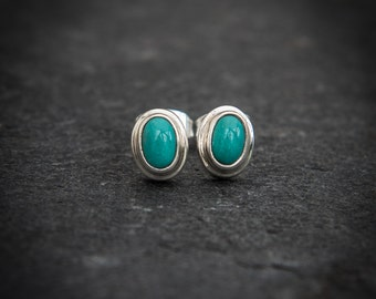 Turquoise and Sterling Silver Stud Earrings