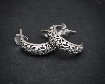 Silver Hoops, Filigree Earrings, Intricate Earrings, Silver Hoop Earrings, Bali Hoops, Sterling Silver