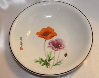 Beautiful Vintage Japanese Serving bowl with two Flowers Orange and Muave