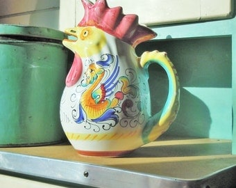 Vintage Italian Chicken Pitcher / Made in Italy for William Sonoma / Great Condition / Lots of Color